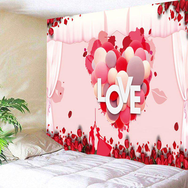 Valentine's Day Love Heart Pattern Wall Art Tapestry - PINK W59 INCH * L59 INCH