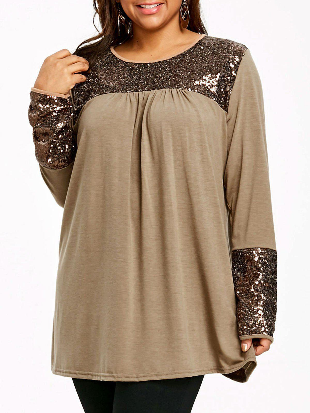 Plus Size Sequin Embellished Tunic Top plus size bowknot embellished tunic top