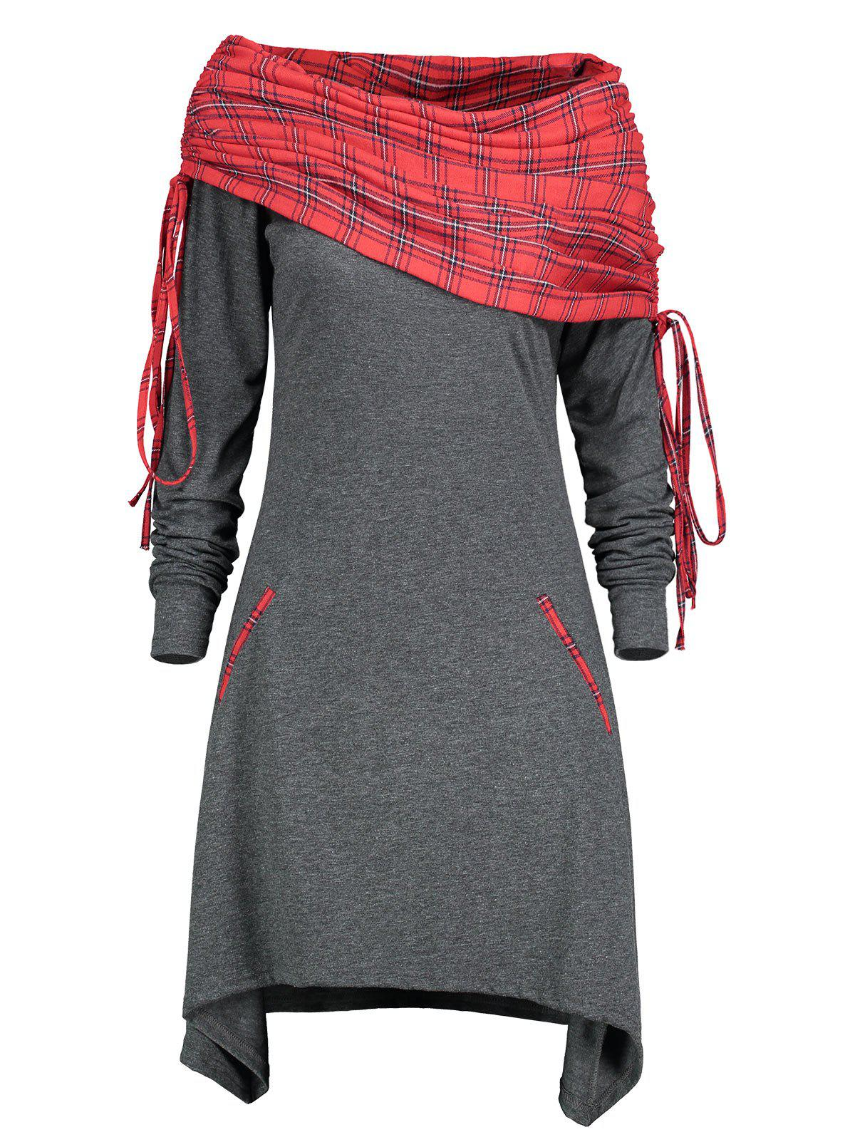 Long Sleeve Drawstring Tartan Panel Dress - GRAY L