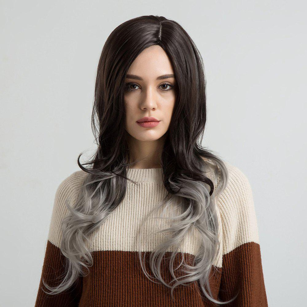 Long Side Parting Wavy Ombre Synthetic Fiber Wig short ombre side parting wavy synthetic wig