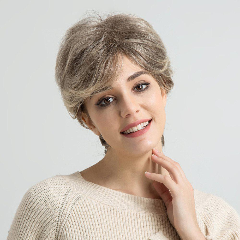 Short Inclined Bang Colormix Layered Straight Human Hair Wig - COLORMIX