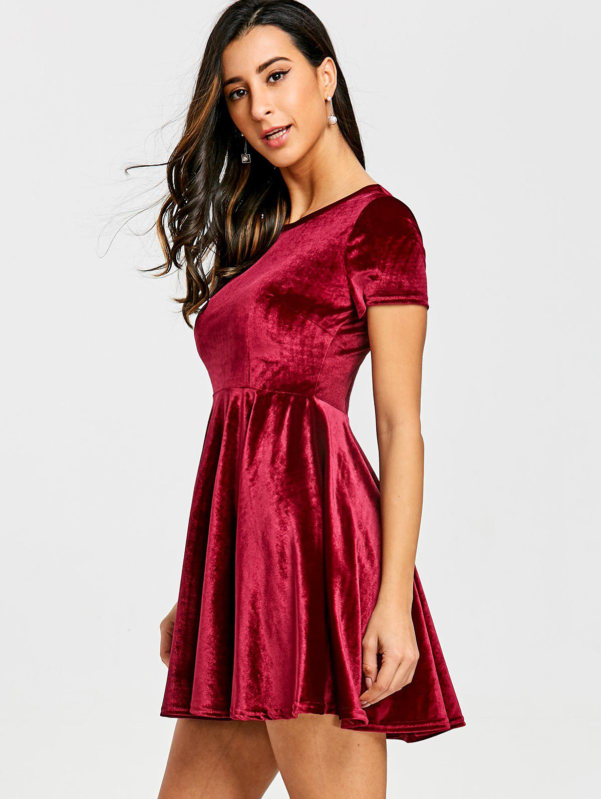 Velvet A Line Mini Dress - RED XL