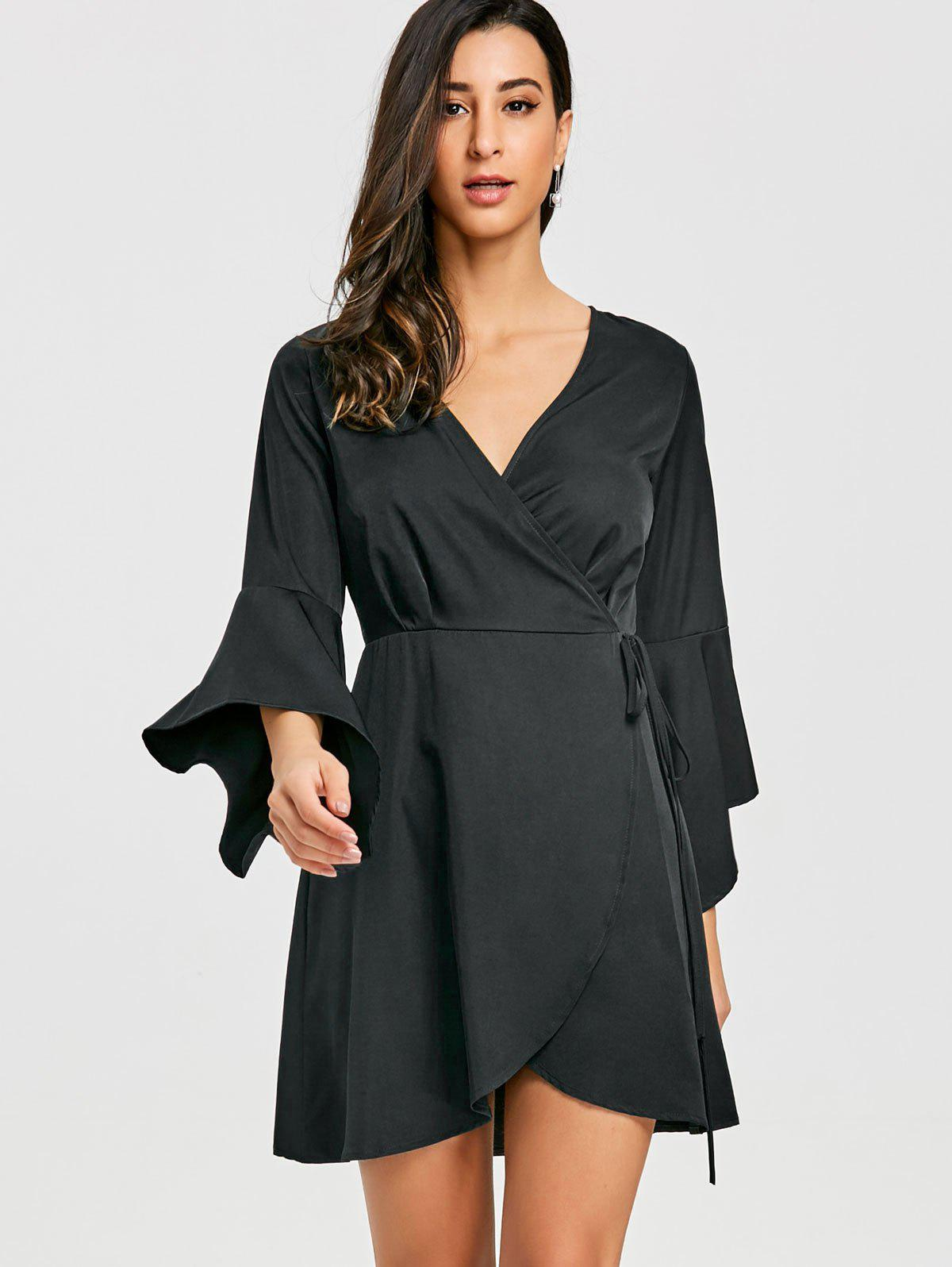 V Neck Mini Bell Sleeve Wrap Dress - BLACK L