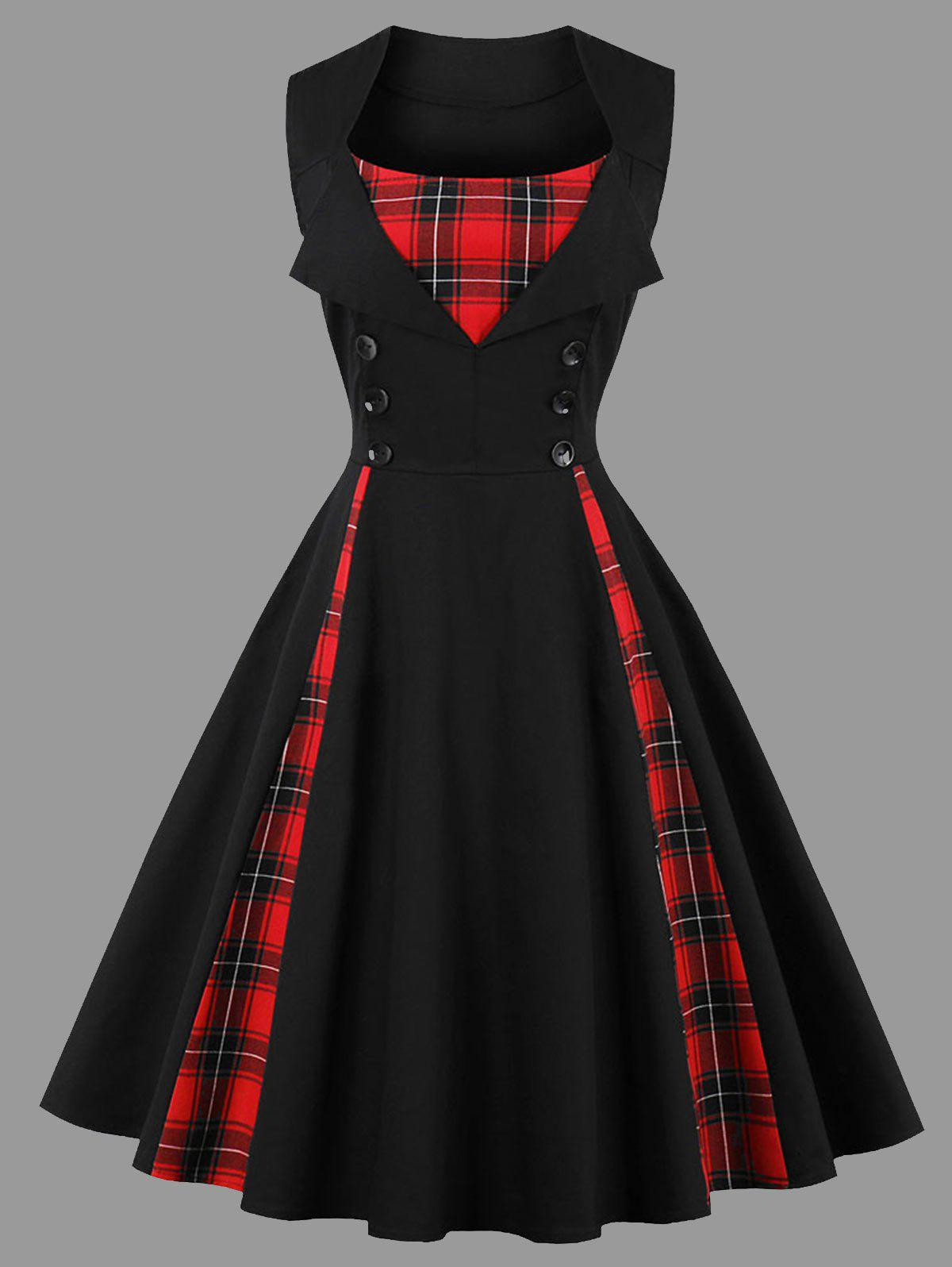 Plus Size Vintage Plaid Insert Sleeveless Dress