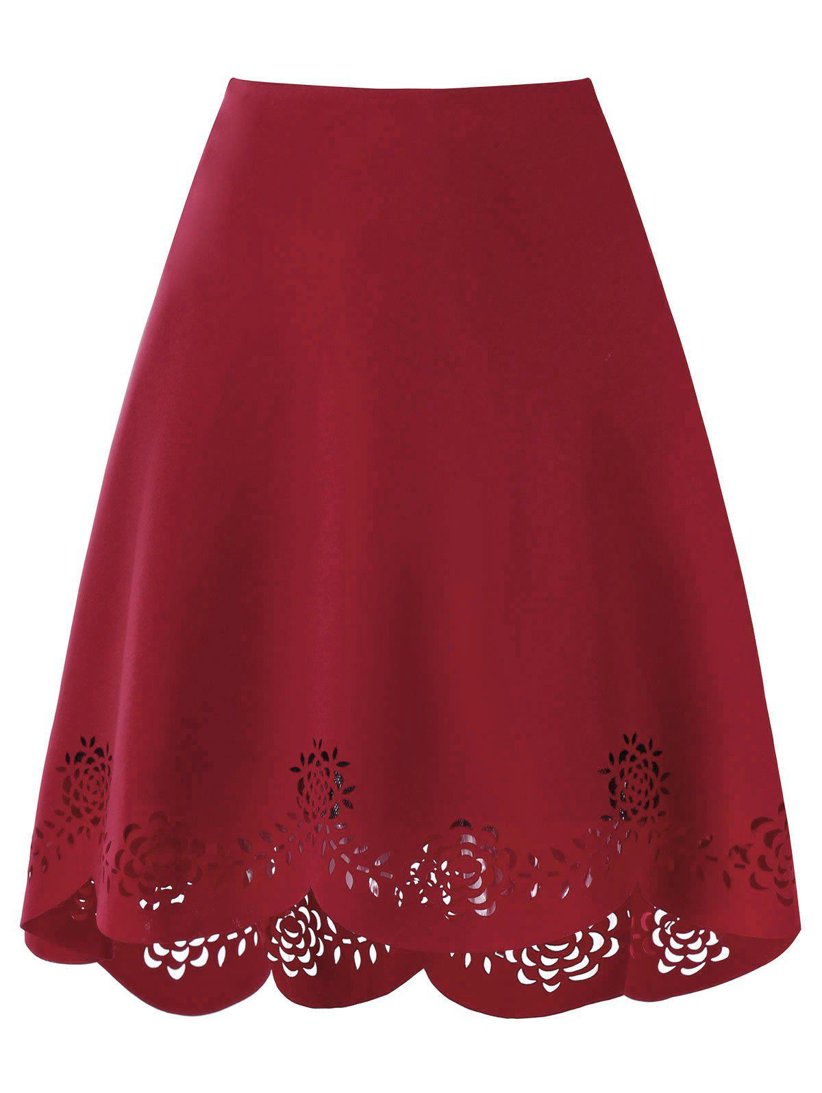 Openwork Scalloped High Low Hem Skirt - WINE RED M