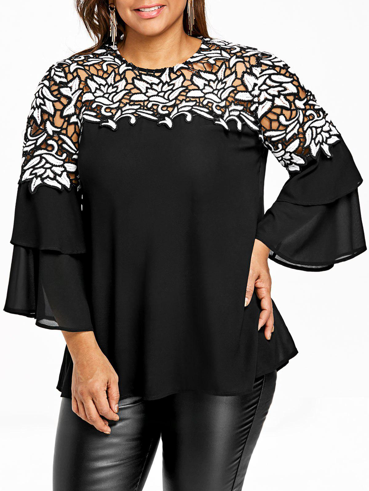 Plus Size Flare Sleeve Hollow Out Blouse - BLACK 5XL