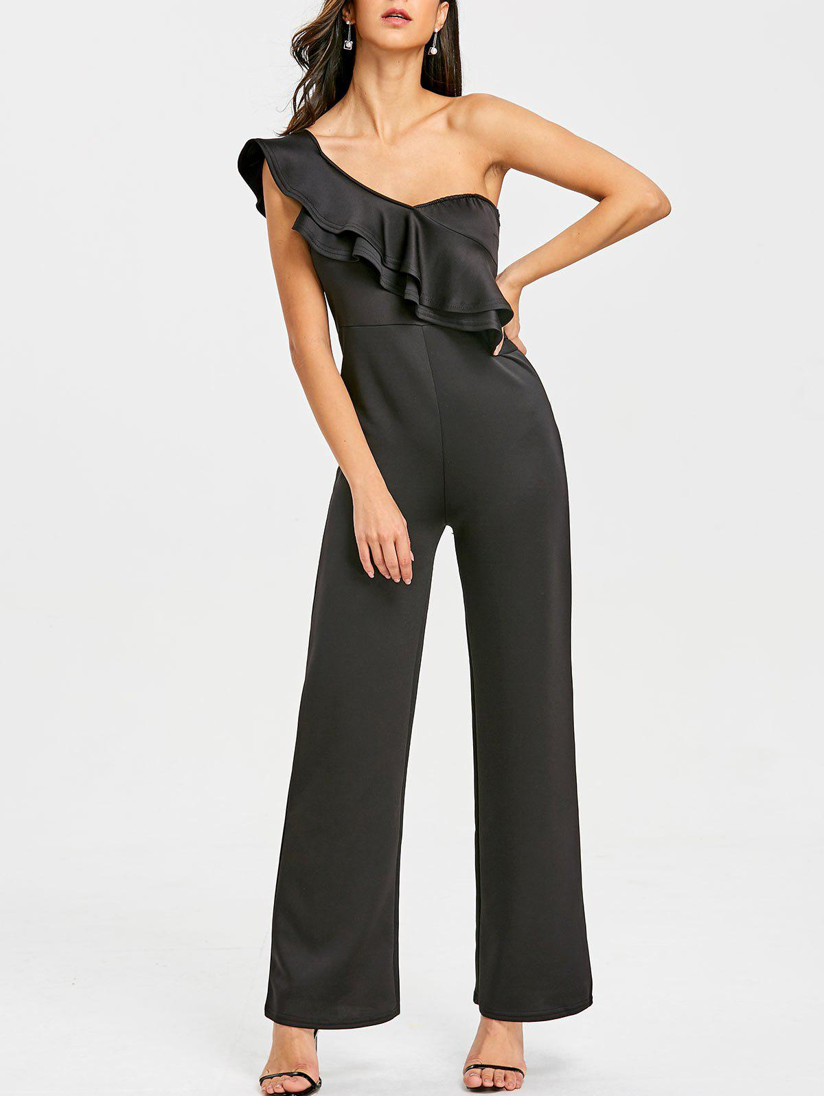 One Shoulder Flounce Wide Leg Jumpsuit arte lamp потолочная люстра arte lamp alessandra a5004pl 3wg