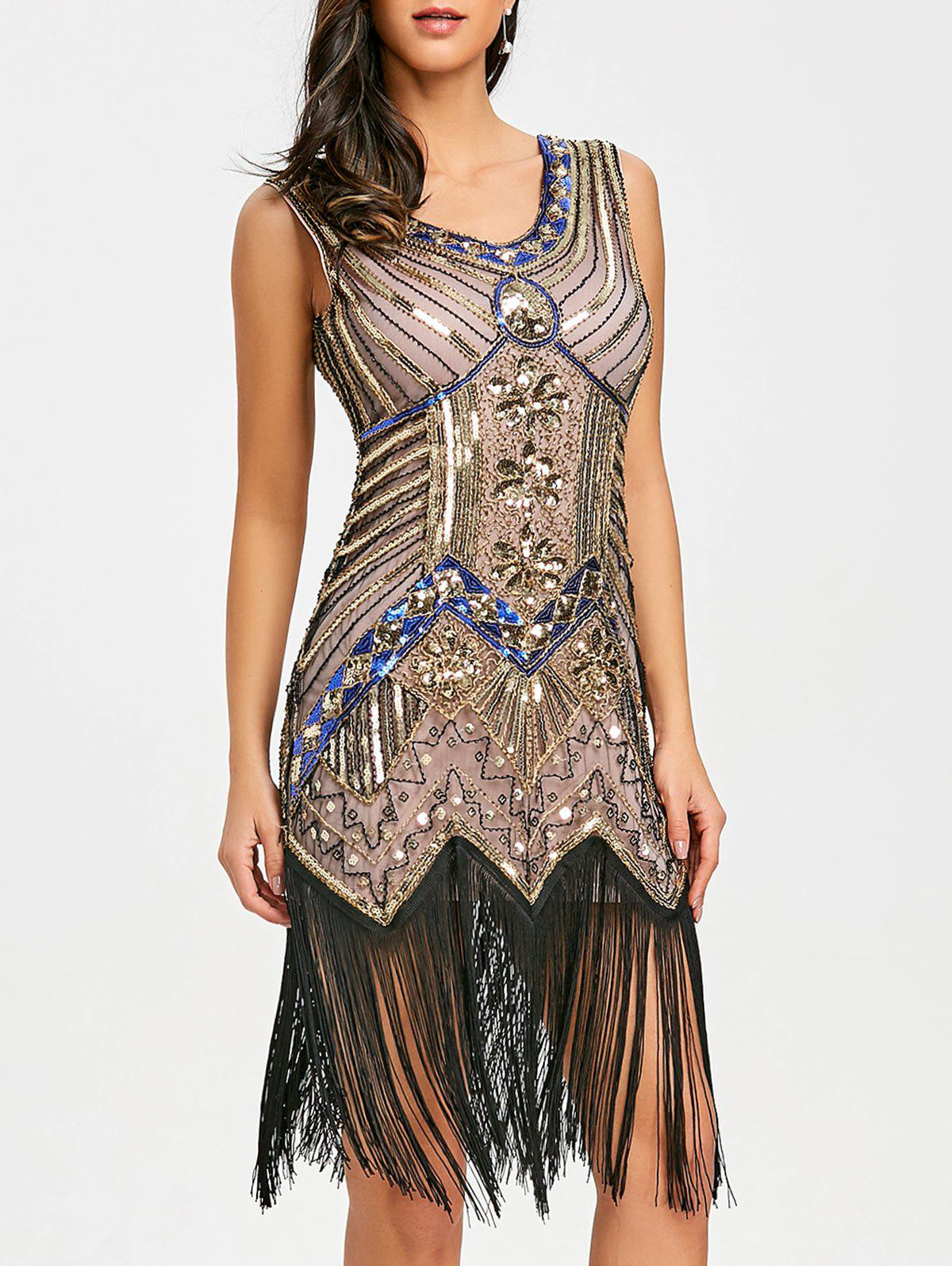 Fringed Sequin Party Midi Dress - APRICOT XL