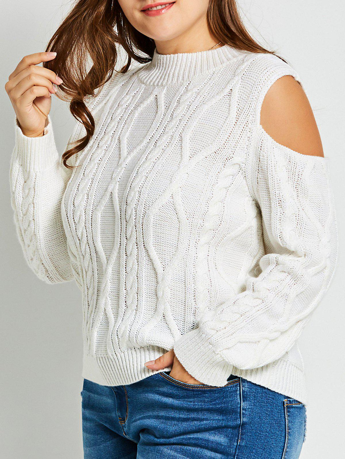Plus Size Cold Shoulder Cable Knit Sweater - WHITE 3XL