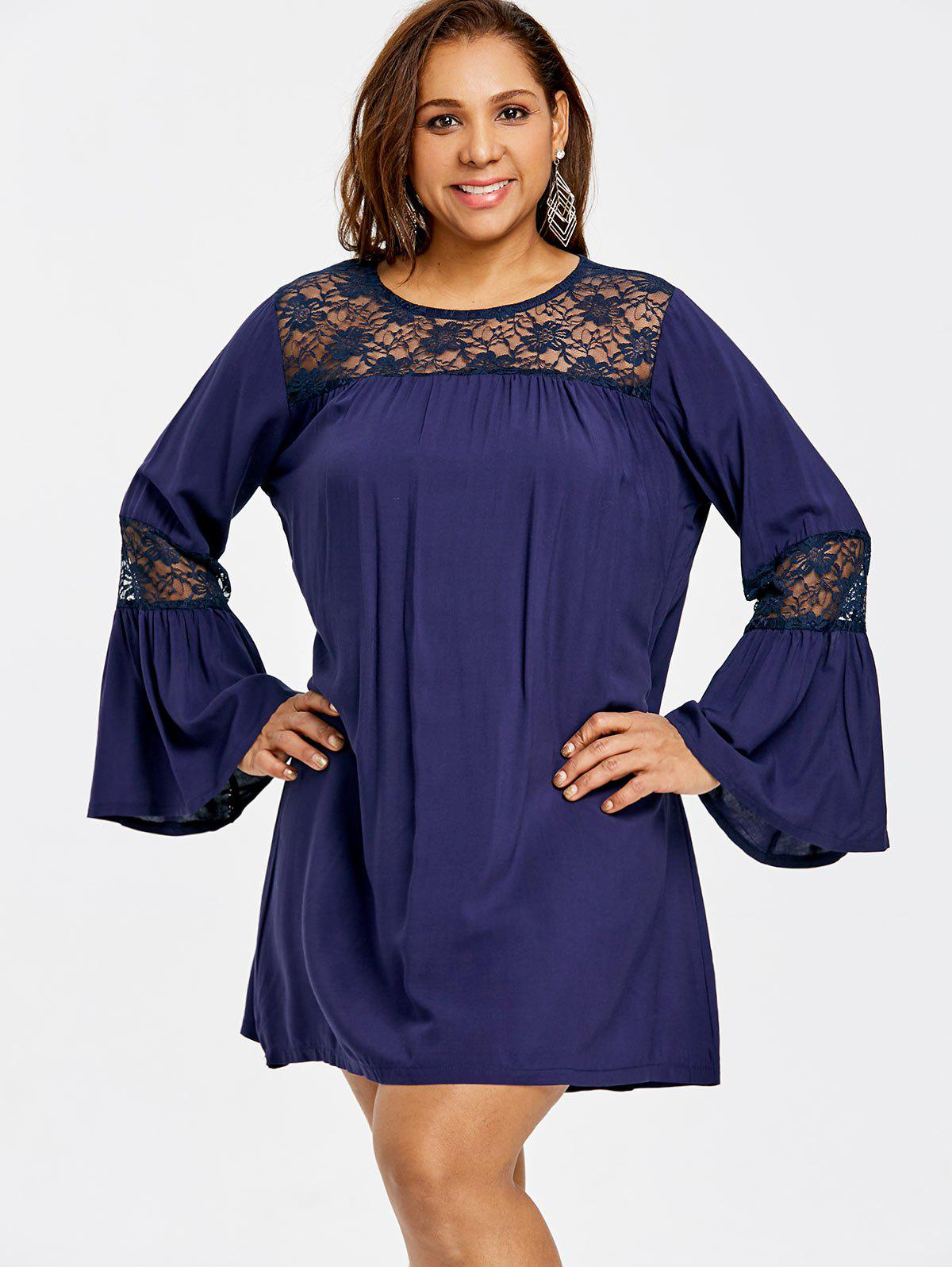 Plus Size Bell Sleeve Lace Insert Swing Dress - CADETBLUE 5XL