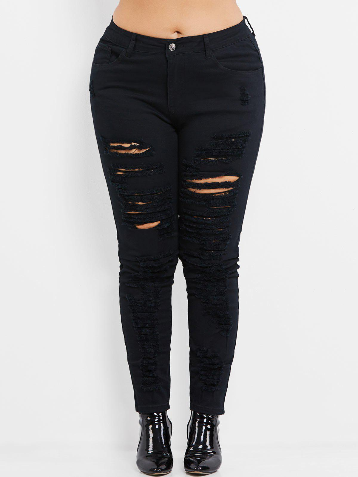 Plus Size High Rise Slim Ripped Jeans - BLACK XL