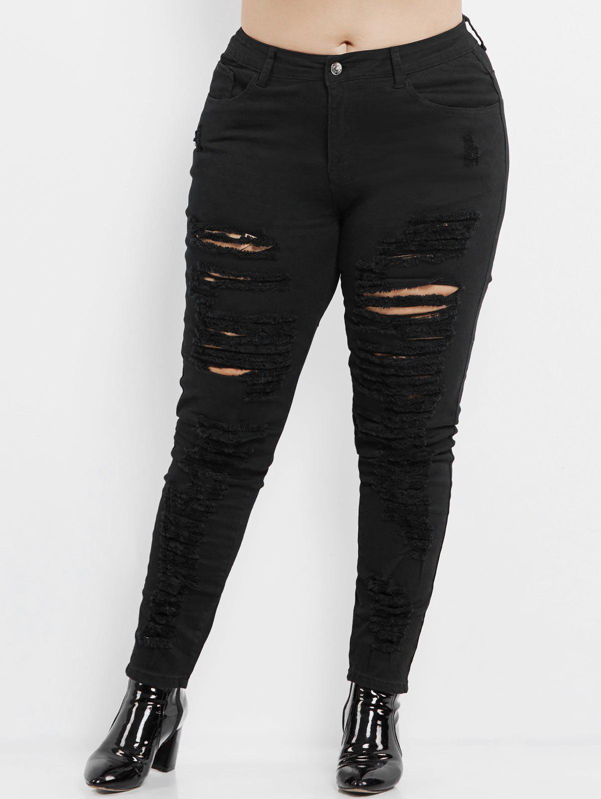Plus Size High Rise Slim Ripped Jeans - BLACK 2XL