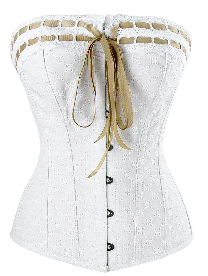 Lace-up Steel Boned Cotton Corset - WHITE XL