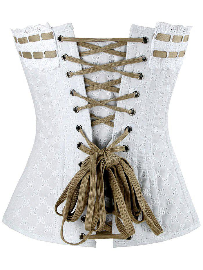 Lace-up Steel Boned Cotton Corset - WHITE S