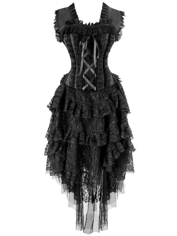 Asymmetric Lace Flounce Corset Dress - BLACK S