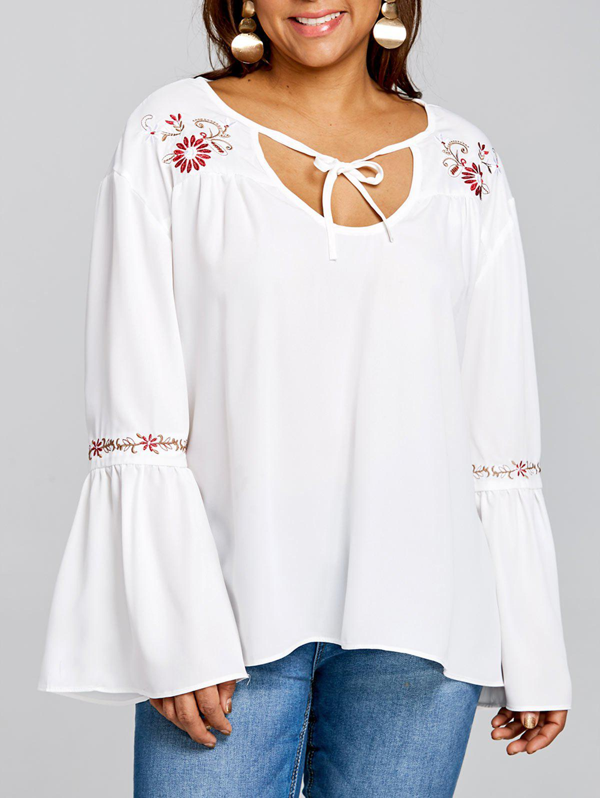 Plus Size Bell Sleeve Embroidered Blouse - WHITE 4XL