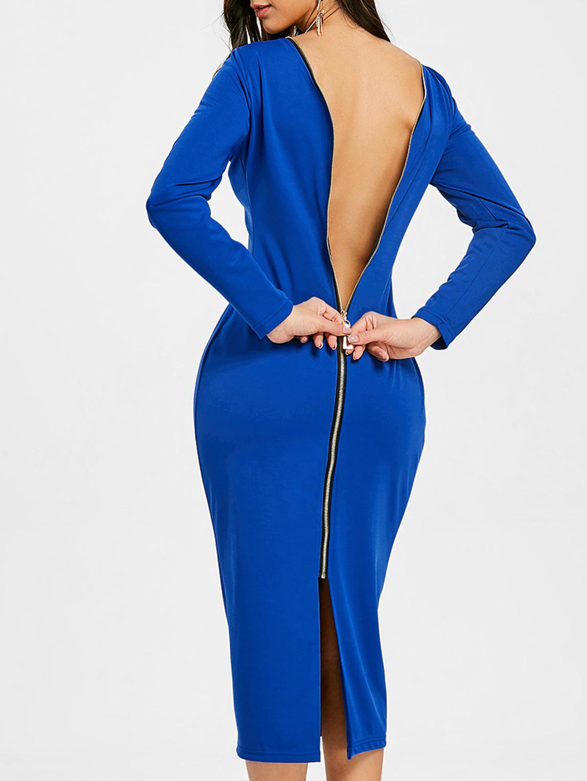 Back Zip Up Long Sleeve Bodycon Dress - BLUE L