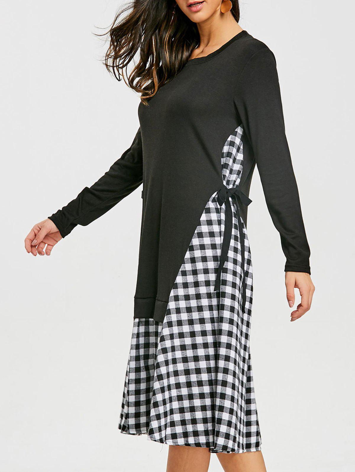 Plaid Insert Oversized Midi Dress - BLACK L