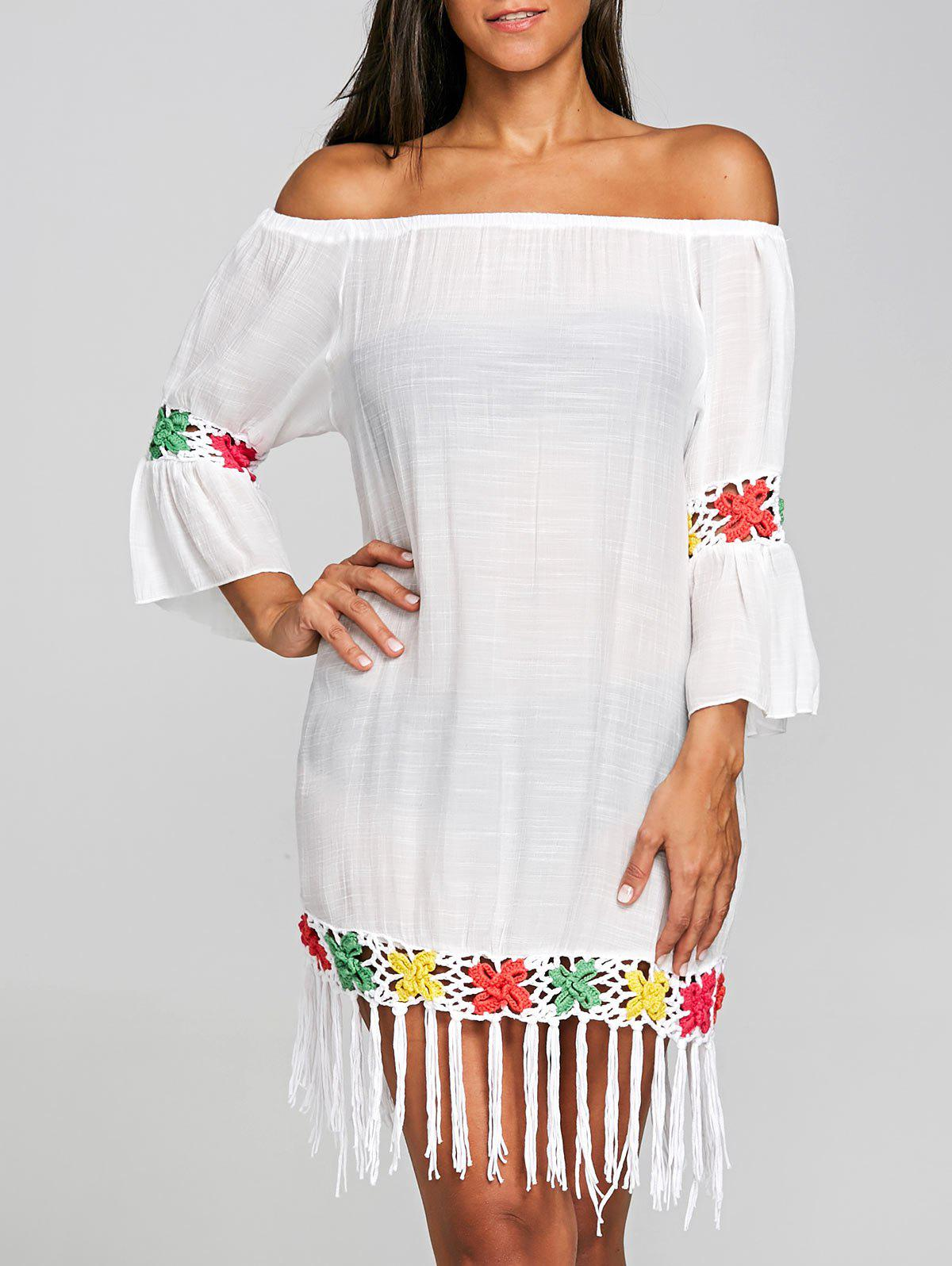 Flounce Crochet Insert Fringed Cover Up Dress - WHITE ONE SIZE