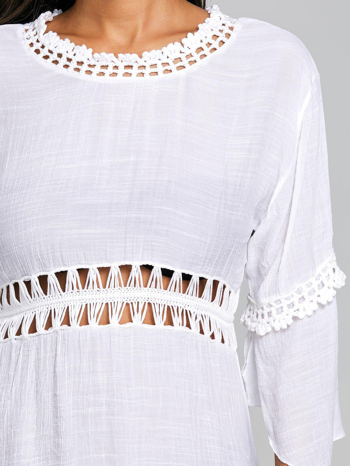 Crochet Trim See Thru Cover Up Dress - WHITE ONE SIZE