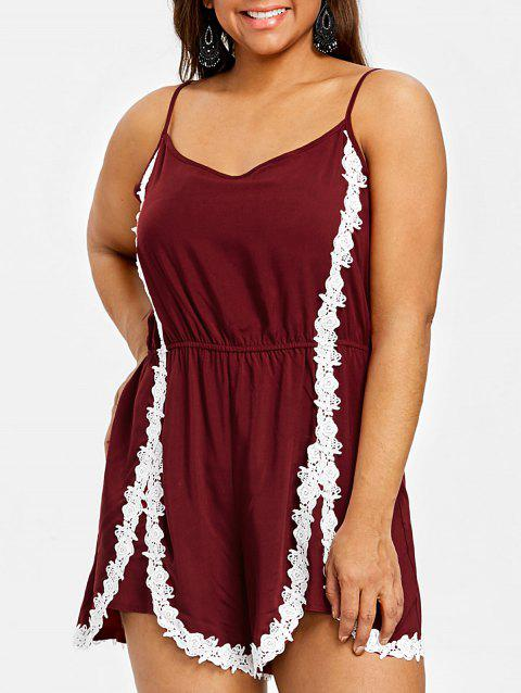 Plus Size Crochet Lace Spaghetti Straps Romper - WINE RED 4XL
