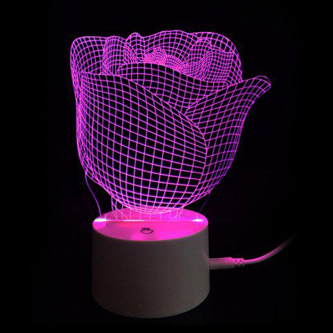Lampe de Nuit LED Décorative de Couleurs Changeantes en Forme de Rose - Transparent