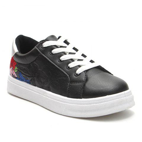 Flower Embroidered PU Leather Skate Shoes - BLACK 40