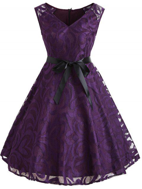 Lace Overlay V Neck Belted Dress - PURPLE L