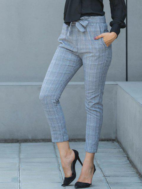 Plaid Belted Pencil Pants - GRAY S