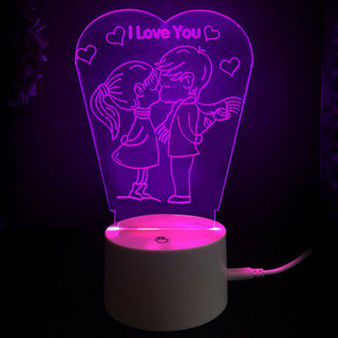 Valentine's Day Love Kiss Colors Changing LED Night Light - TRANSPARENT