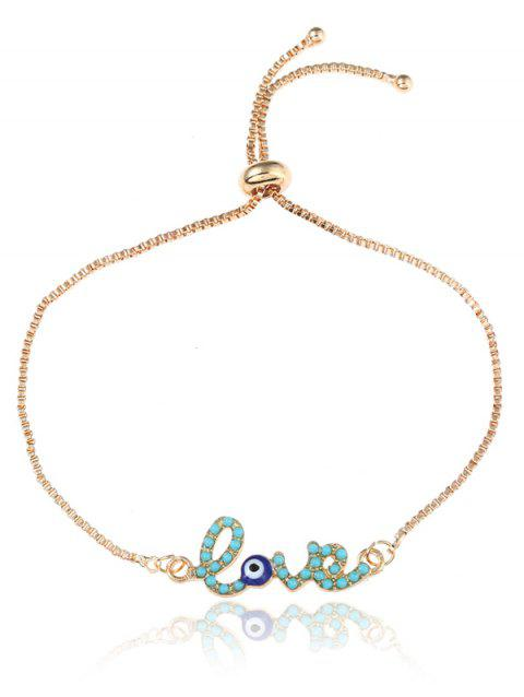 Valentine's Day Eye Love Bolo Box Chain Bracelet - GOLDEN
