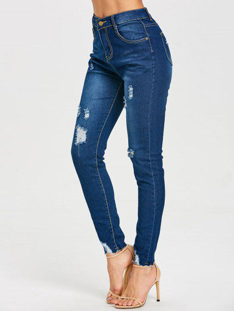 Skinny High Rise Frayed Ripped Jeans - DEEP BLUE L