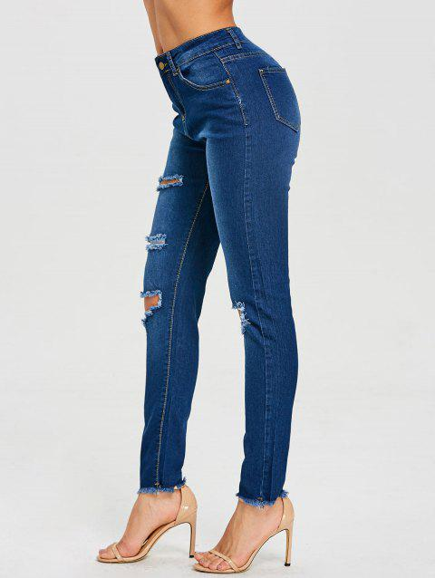 Skinny High Rise Distressed Jeans - DEEP BLUE S