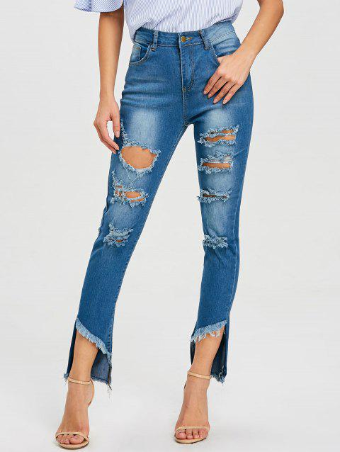 High Rise Frayed Destroyed Jeans - BLUE L