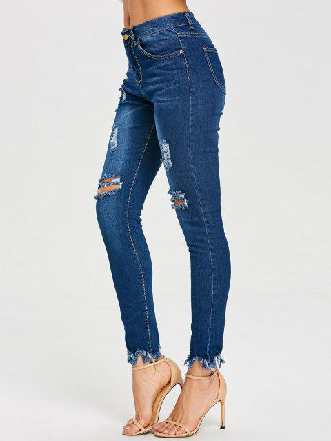 Frayed Skinny Distressed Jeans - BLUE XL