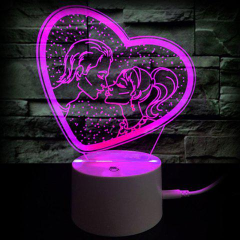 Valentine's Day Gift Kiss Color Changing 3D Vision Night Light - TRANSPARENT