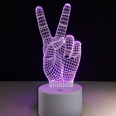 Victory V Gesture Tactile Commutateur Couleurs Changement LED Night Light - Transparent