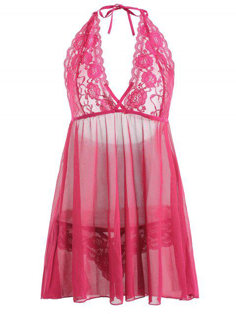 Low Cut Plus Size  See-Through Lace Babydoll - ROSE RED 3XL