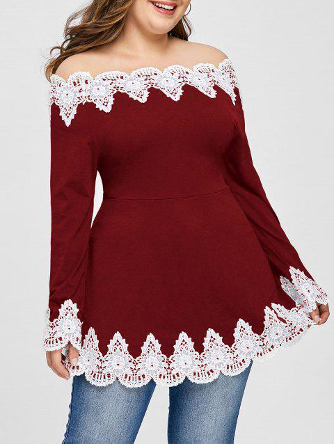 Plus Size Off Shoulder Floral Patchwork Top - WINE RED 5XL