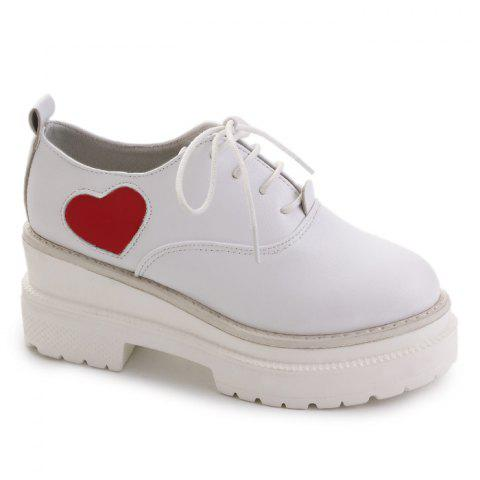 Mid Heel School Casual Shoes - WHITE 38