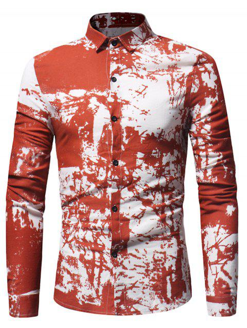 Cotton Linen Tie Dye Print Shirt - RED XL