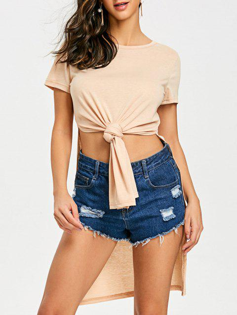 High Slit Front Knot Tee - APRICOT L
