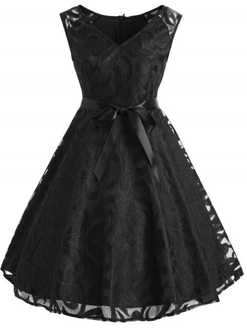 Lace Overlay V Neck Belted Dress - BLACK M