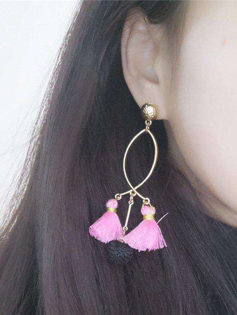 Metal Fish Shape Tassel Ball Handmade Drop Earrings - PINK
