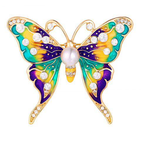 Broche Papillon Strass en Fausse Perle - Or