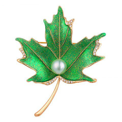 Faux Pearl Rhinestoned Maple Leaf Brooch - GOLDEN