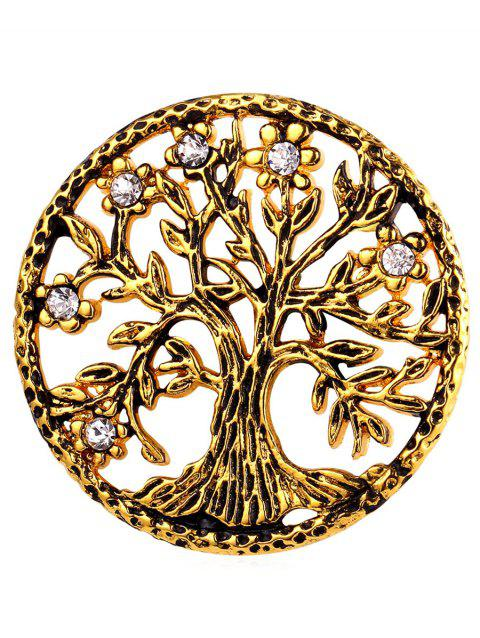 Rhinestone Stainless Steel Tree of Life Brooch - GOLDEN