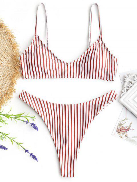 Cami Striped Thong Bathing Suit - RED/WHITE M