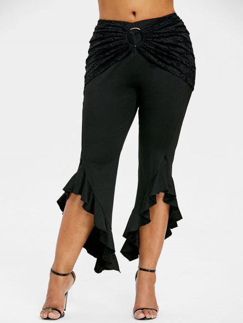Ruffle Plus Size Detachable Lace Skirt Leggings - BLACK 5XL