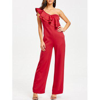 One Shoulder Flounce Wide Leg Jumpsuit - RED RED